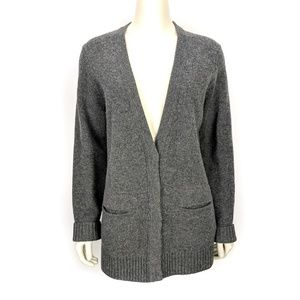 Madewell Gray Button Front Merino Wool Sweater L